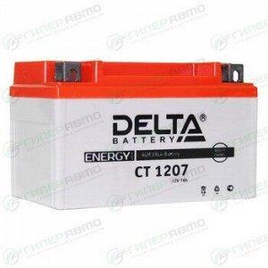 Аккумулятор для мото Delta CT 1207 AGM, 7Ач, CCA 105A, необслуживаемый