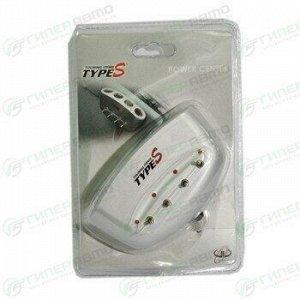 Разветвитель прикуривателя Type-S, 4 гнезда, серебристый, с выключателем каждого гнезда, арт. TyS-02166