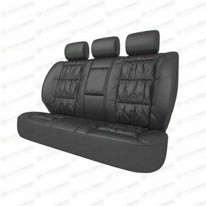Чехлы CARFORT SILVER для задних сидений, кожа, черный цвет, 5 предметов