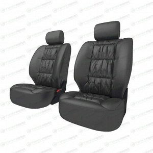 Чехлы CARFORT SILVER для передних сидений, кожа, черный цвет, 8 предметов