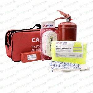 Набор автомобилиста CARFORT (огнетушитель 2кг, строп лента 5т, знак, жилет, перчатки), без аптечки