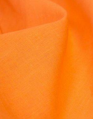 Лен гладкокрашенный цв.Оранжевый, 1.5м, лен-100%, пл.210 гр/м.кв