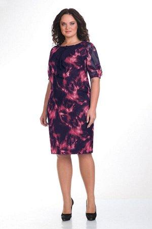 Платье Платье VIOLA 0651 темно-синий/красный  Состав: ПЭ-100%; Сезон: Осень-Зима Рост: 164  Шифоновое платье на подкладке. Спереди декорировано жабо. Сзади разрез. Рукав частично на резинке. Длина пл