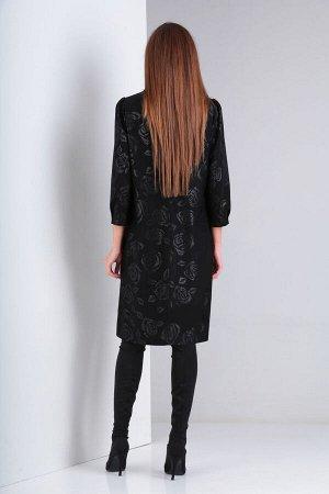 Платье Платье VIOLA 0942 черный  Состав: ПЭ-95%; Эластан-5%; Сезон: Осень-Зима Рост: 164  Платье женское, нарядное, свободного силуэта на подкладке. Горловина V-образная, обработана обтачкой. Перед п