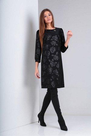 Платье Платье VIOLA 0948 черный  Состав: ПЭ-95%; Эластан-5%; Сезон: Осень-Зима Рост: 164  Платье женское, нарядное, свободного силуэта. Вырез горловины круглый, обработан обтачкой. Перед платья с наг