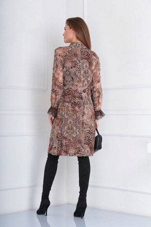 Платье Платье VIOLA 0949 коричневый  Состав: ПЭ-100%; Сезон: Осень-Зима Рост: 164  Платье женское, нарядное, свободного силуэта, на подкладке. Горловина с воротником стойкой, от которой по переду рас