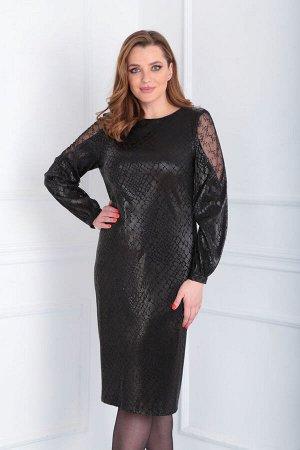 Платье Платье VIOLA 0950 черный  Состав: ПЭ-95%; Спандекс-5%; Сезон: Осень-Зима Рост: 164  Платье женское, нарядное, полуприлегающего силуэта. Платье выполнено из трикотажного полотна с напылением ри