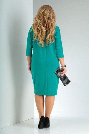 Платье Платье VIOLA 0955 бирюзовый  Состав: Вискоза-30%; ПЭ-70%; Сезон: Осень-Зима Рост: 164  Стильное трикотажное платье. Яркая модель в современном стиле, которая хорошо садится на фигурах plus siz