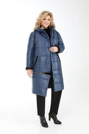 Пальто Пальто Pretty 1914 темно-синий  Состав ткани: ПЭ-100%;  Рост: 164 см.  Женское дутое пальто трансформер, выполненное из плащевой ткани и утепленное синтепоном. Застежка смещенная на двойной ря
