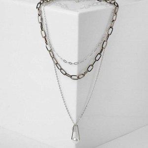 """Кулон """"Цепь"""" многоярусный, жемчужинка с медальоном, цвет белый в сером металле, L=54 см"""