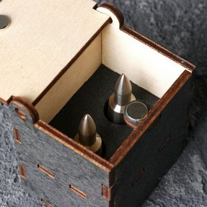 """Охладители для виски """"ПУЛЯ"""", нерж. сталь, деревянная шкатулка на магните, 2шт."""