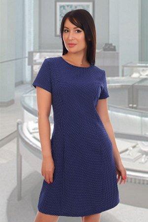 Платье Данный товар в одной расцветке. ткань: барби , состав: 97% п/э, 3% эластан. Кокетливое женское платье глубокого синего оттенка выполнено из приятного к телу материала. Короткий рукав, полуприле
