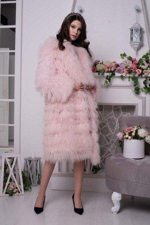 """Шуба из ламы цвет """"розовый"""""""