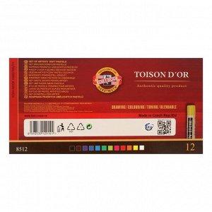 Пастель сухая 12 цветов, Soft Koh-I-Noor 8512 TOISON D`OR, картонная упаковка