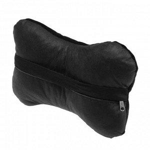 Подушка автомобильная косточка, на подголовник, велюр, черный, ромб, 16х24 см