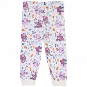 Пижама для девочки, молочный набивка птички