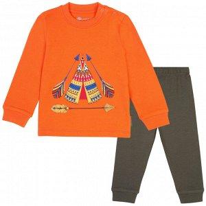 Пижама для мальчика, оранжевый, хаки