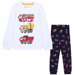 Пижама для мальчика, белый, синий набивка