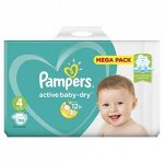 PAMPERS Подгузники Active Baby-Dry Maxi (9-14 кг) Малая Мега Упаковка 106