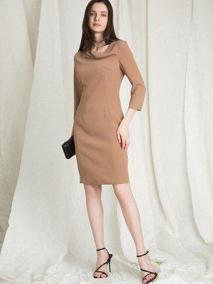 Платье Состав ткани: 55% Вискоза, 45% Полиэстер Длина: 91 См. Описание модели Бежевое платье с приталенным силуэтом и рукавами 3/4. Модель с вытачками выгодно подчеркнёт фигуру. Вытачка под воротом со