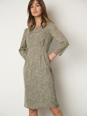Платье Состав ткани: Вискоза 55%, Полиэстер 45% Описание модели Оливковое платье с нежным принтом цветочных ветвей. Модель с рукавом 3/4 и длины миди. На поясе имеется сборка. Изящный вариант для кэжу