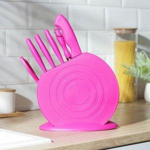 Набор кухонных принадлежностей, 8 ножей, ножеточка, ножницы, на подставке, цвет МИКС