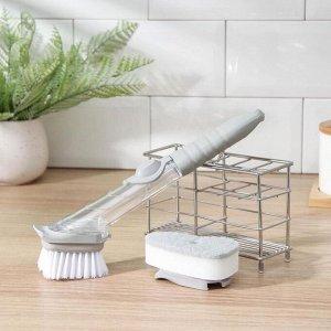 Щётка для мытья посуды с дозатором, 23,5?4,5 см, сменная насадка