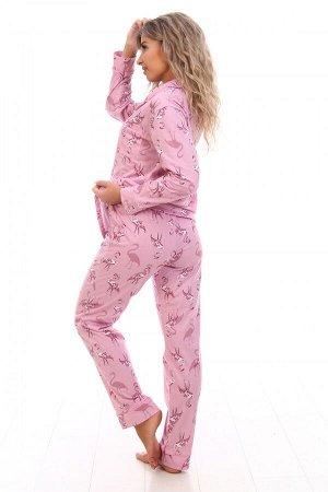 Пижама женская Фламинго(розовые) дл/рук