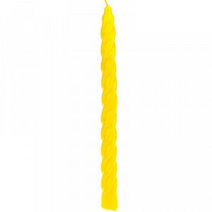"""Свеча """"Витая"""" д2см, h24см, 40г, время горения 6-7ч, желтый ("""