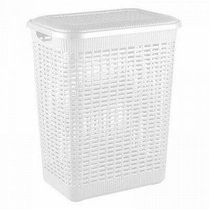 Корзина для белья пластмассовая 30л, 37х26х46см, белый, Econ