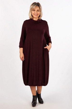 Платье Темно-бирюзовый, темно-синий,винный, антрацит, Женское платье свободного кроя в стиле «бохо», выполнено из тёплого трикотажа с добавлением шерсти. Имеются нагрудные вытачки. Рукав втачной, длин