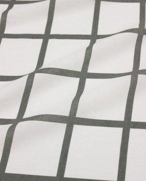 """Поплин """"Крупная клетка (цв. т.серый хаки) на белом"""", ш.2.2м, хлопок-100%, 115гр/м.кв"""