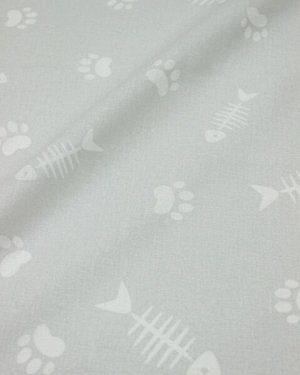 """Поплин """"Лакомство котика"""" цв.светло-серый, ш.1.5м, хлопок-100%, 110гр/м.кв"""