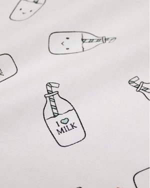 "Муслин двухслойный ""Бутылочки Milk"", ш.1.35м, хлопок-100%, 100гр/м.кв"
