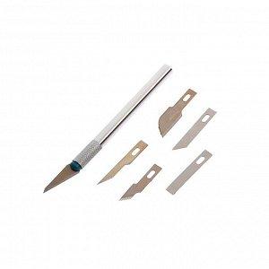 Нож макетный , металлическая ручка, 6 лезвий