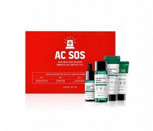Some By Mi AC SOS AHA-BHA-PHA 30 Days Miracle AC SOS Kit Набор миниатюр с кислотами для проблемной кожи (4 предмета)