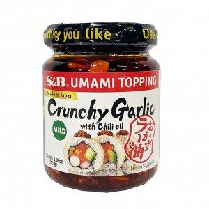 Соус S&B Топпинг Умами жареный чеснок с миндалём, 110г, ст/банка, Япония