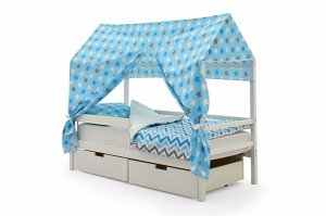 Крыша текстильная Бельмарко для кровати-домика Svogen звезды синий,белый,графит, фон голубой