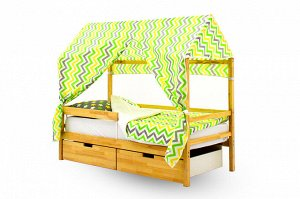 Крыша текстильная Бельмарко для кровати-домика Svogen зигзаги, желтый, зеленый, фон белый