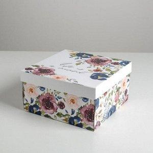Коробка складная «Цветы», 28 х 28 х 15 см