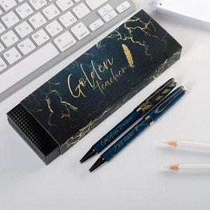 Ручки в подарочном футляре Golden teacher, 2 шт (красная и синяя паста)