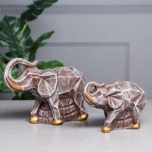 """Набор статуэток """"Пара слонов"""", камень, коричневый"""
