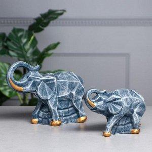 """Набор статуэток """"Пара слонов"""", камень, синий"""