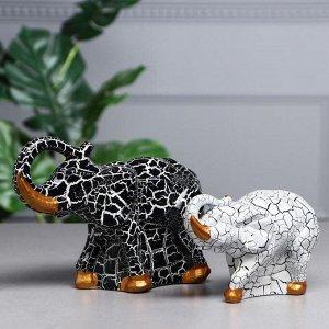 """Набор статуэток """"Пара слонов"""", кракелюр, чёрно-белый"""