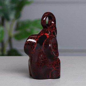 """Набор статуэток """"Слоны Инь-Янь № 1"""", кракелюр, красно-чёрный"""