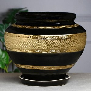 """Кашпо """"Сетка"""", золото, чёрный, 22 л"""