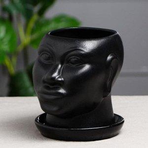 "Кашпо ""Голова африканки"" муар. 1.4 л. чёрный"