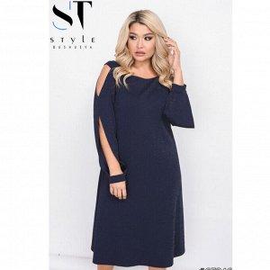 Платье Артикул: 65246; Материал: Трикотаж с серебристой ниточкой; Цвет: синий; Размер на фото: XL; Параметры модели: 100-72-102; Рост модели: 163; 56-58: Ог 120 см, От 108 см, Об 124 см, обхват рукава