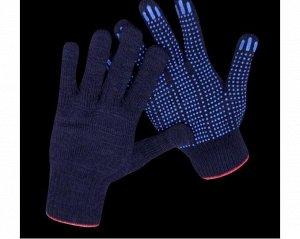 Перчатки - №16 трикотажные с напылением ПВХ точка (черные) , 10-й класс вязки 5-ти нитка (уп 10 пар/мешок 200 пар)