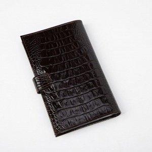 Визитница на кнопке, 3 ряда, 24 листа, кайман, цвет коричневый